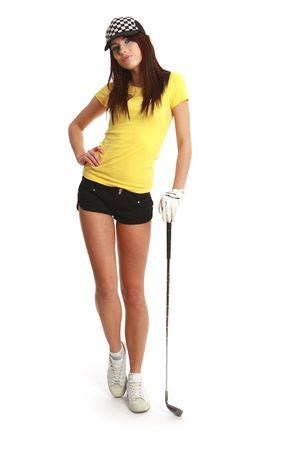 golfing: Golf Player Woman. studio geïsoleerde shot