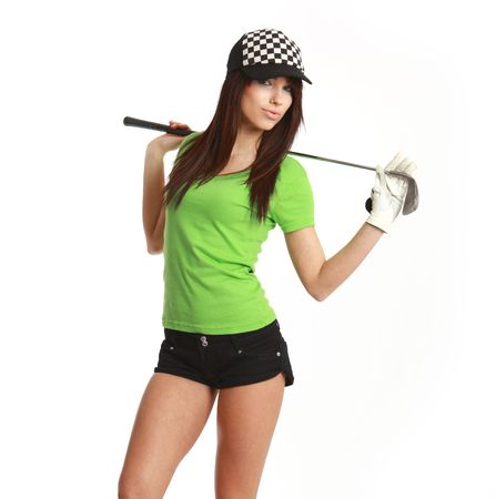 hole in one: Golf Player Woman. studio isolated shot