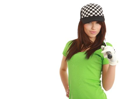 Golf Player Woman. studio isolated shot photo