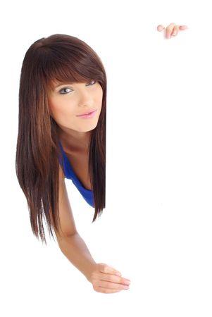 Portrait of a beautiful woman holding a blank billboard Stock Photo - 5283912