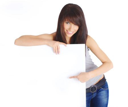 Portrait of a beautiful woman holding a blank billboard Stock Photo - 5283910