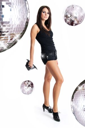 sexy showgirl  over mirror ball background photo