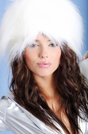 Winter Girl with beautiful make up, silver gloves , white background Stock Photo - 5351944