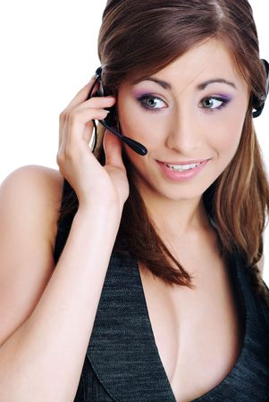business customer support operator woman smiling Stock Photo - 5371601