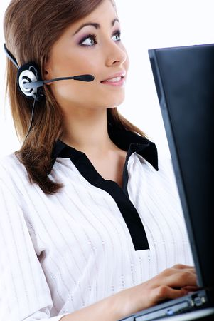 business customer support operator woman smiling Stock Photo - 5371639