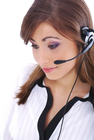 business customer support operator woman smiling Stock Photo - 5371638