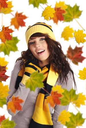 Beautiful  woman wearing hat and gloves.  leaves background photo