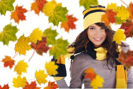Beautiful  woman wearing hat and gloves  and maple leaves Stock Photo - 5406590