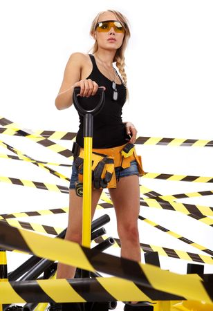 Female construction worker . Black and yellow concept. photo