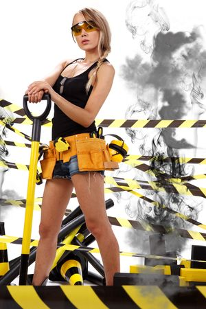 Female construction worker . Black and yellow concept. Stock Photo - 5406589