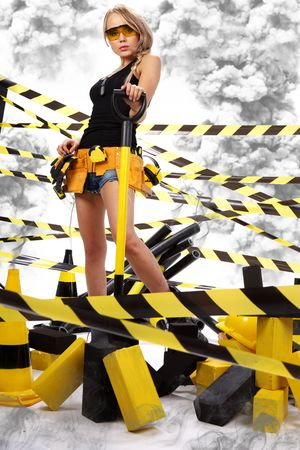 sexy construction worker: Female construction worker . Black and yellow concept.