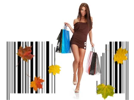 Shopping woman witn bag standing on bar code
