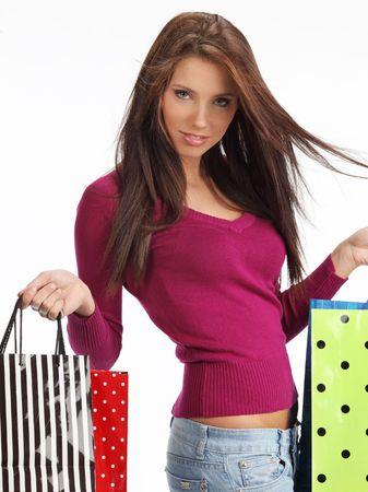 happy rich woman: Bella, giovane donna con le borse della spesa colorati