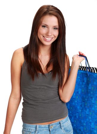 consumerism: Sexy young woman with colorful shopping bags. consumerism concept   Stock Photo