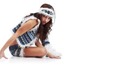 Winter fashion girl isolated on white background Stock Photo - 5830481
