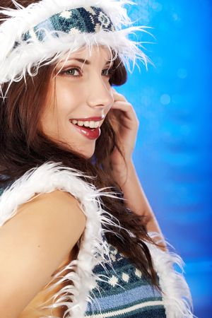 Close-up beautiful face of young winter woman Stock Photo - 5879100