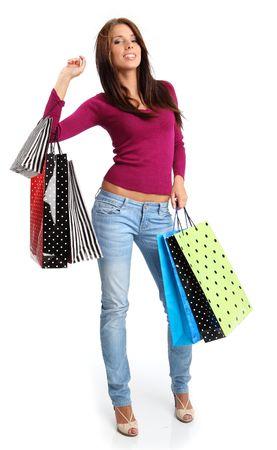 chicas de compras: Mujer de compras. Aislados sobre fondo blanco