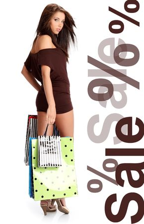 purchaser: Shopping woman. Isolated over white background  Stock Photo