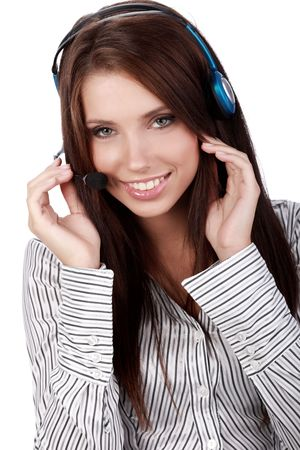 Customer Support girl with headset smiling during a telephone conversation  photo