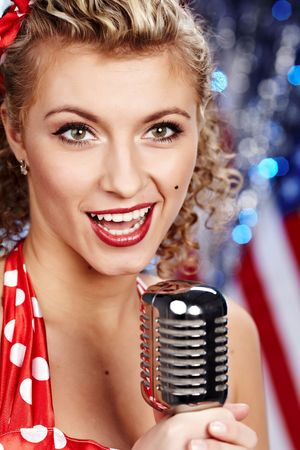 Singer woman, pin-up style Stock Photo - 6375299