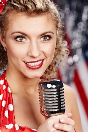 Singer woman, pin-up style Stock Photo - 6375302