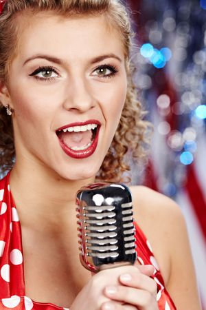 Singer woman, pin-up style Stock Photo - 6375304
