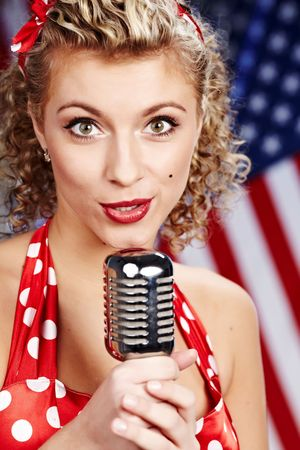Singer woman, pin-up style Stock Photo - 6375305