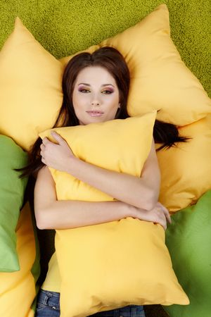 Portrait of a spring girl napping on pillow. Stock Photo - 6445768