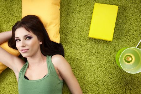 Portrait of a spring girl napping on pillow. Stock Photo - 6534112