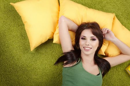 Portrait of a spring girl napping on pillow. Stock Photo - 6534124