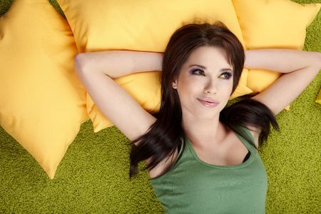 Portrait of a spring girl napping on pillow. Stock Photo - 6534128
