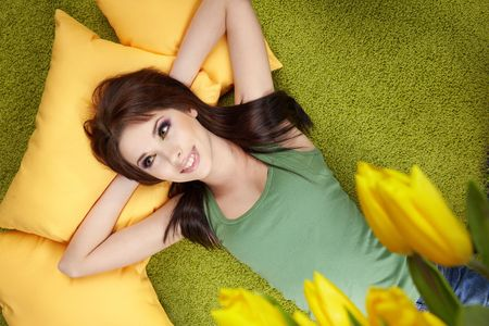 Portrait of a spring girl napping on pillow. Stock Photo - 6534123