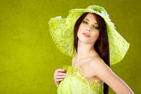 elegance fashion girls look sensuality young: Beautiful spring woman portrait. green concept Stock Photo