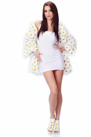 Spring woman dressed flower coat Stock Photo - 6667151