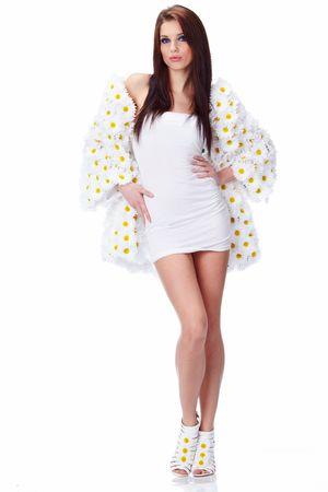Spring woman dressed flower coat Stock Photo - 6667151