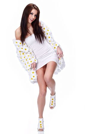 Spring woman dressed flower coat Stock Photo - 6667125