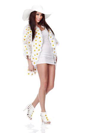 Spring woman dressed flower coat Stock Photo - 6667152