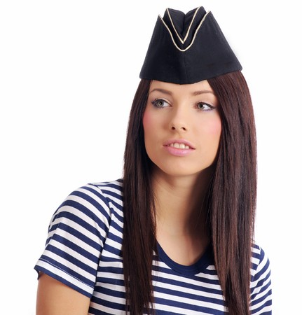 Beautiful girl in captains hat photo