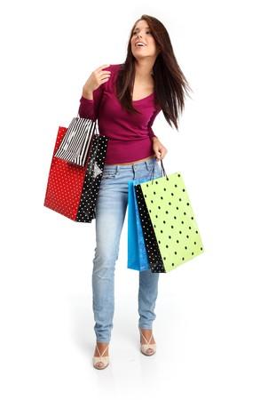 chicas compras: sexy girl de compras  Foto de archivo