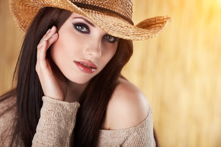 sexy cowgirl: Portrait of a Beautiful Country Woman