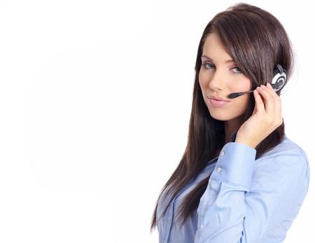 hands free phone: Operador de apoyo en el auricular. Studio dispar� sobre un fondo blanco