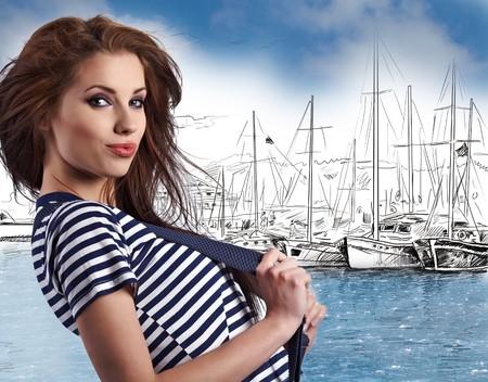 sailor girl: Sexy sailor girl in yacht marine Stock Photo