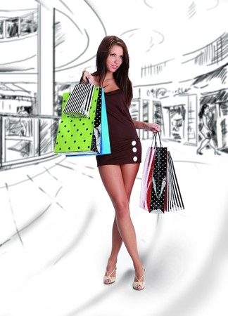 shopping center: Shopping girl on drawing  the background