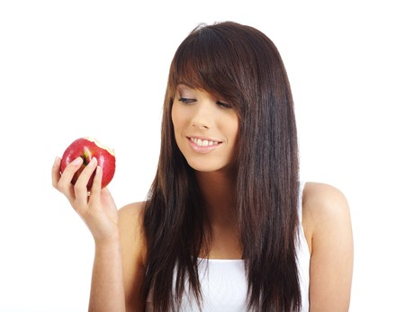 woman with red apple isolated over white background Stock Photo - 7379641
