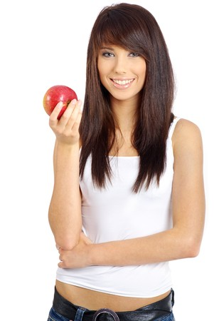 woman with red apple isolated over white background Stock Photo - 7379644