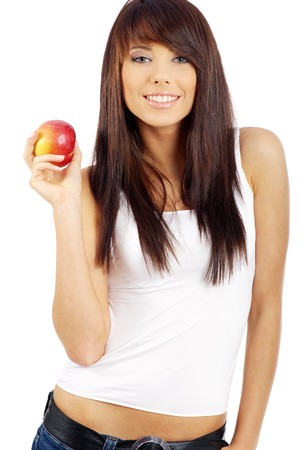 woman with red apple isolated over white background Stock Photo - 7379651