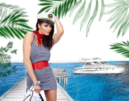 sailor girl in yacht marine Stock Photo - 7392205
