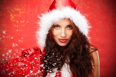Happy young woman with christmas  gift box Stock Photo - 7436600