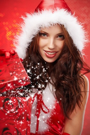 Happy young woman with christmas  gift box Stock Photo - 7436609