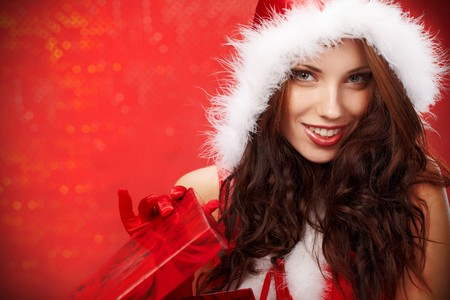 Happy young woman with christmas  gift box Stock Photo - 7436608